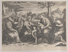 The Holy Family at right, with the infant Saint John the Baptist, Elizabeth, Zacharias, and an angel at left, 1631-37.