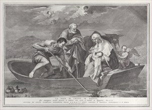 The flight into Egypt, with the Holy Family in a boat, 1730-50.