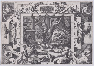 Pelias Killed by his Daughters (Dont par pitié elles prennent courage son sang vider par violent outrage...), 1563.