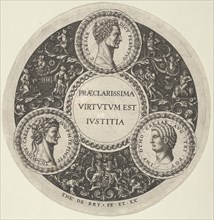 Design for a Dish with Portraits of the Roman Emperors Caesar, Claudius, and Otho, ca. 1588.