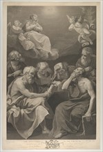 The doctors of the church consulting books and documents and contemplating the Virgin who is shown above in heaven, flanked by angels, after Reni, 1785.