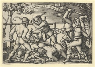 Peasants' Brawl, from The Peasants' Feast or the Twelve Months, 1547. [Haust Du Mich. So Stich Ich Dich].