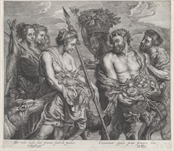 Diana returning from the chase, accompanied by dogs and her nymphs at left, two satyrs at right, ca. 1640-59.