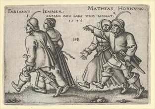 January and February, from The Peasants' Feast or the Twelve Months, 1546. [The Village Wedding: Fabianus Jenner / Mathias Hornung].