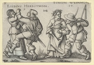 September and October, from The Peasants' Feast or the Twelve Months, 1546-47. [The Peasant Wedding: Egidius Herbstmon / Simon Weinmon].