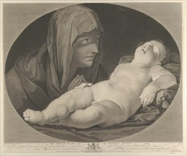 The Virgin in prayer, looking at the sleeping infant Christ, in an oval frame, after Reni, 1765.