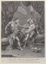 Samson and Delilah seated on a bed, Samson tearing apart the ropes binding his hands as soldiers look on from behind a curtain; from the series of 112 prints of the sacred history, after the painting ...