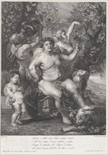 Bacchus seated on a barrel in front of grapevines, with bacchantes, satyrs, and children surrounding him, 1758.