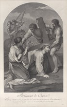 Christ fallen to the ground under the weight of the cross, with two men assisting and Saint Veronica kneeling with the veil at left, ca. 1729.