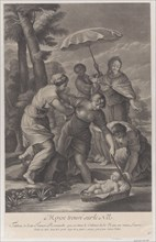 Three women pulling in the basket with the infant Moses from the water, ca. 1729.