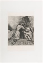He smothers her: plate 13 from Othello (Act 5, Scene 2), etched 1844, reprinted 1900.