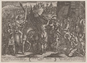 Plate 17: David Returning in Triumph with the Head of Goliath, from 'The Battles of the Old Testament', ca. 1590-ca. 1610.