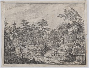 Forest landscape with a rider conversing with a man at center, a footbridge at right, 1716.