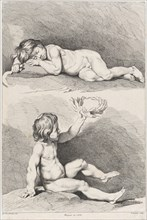 Two nude children, one sleeping and the other holding a wreath, from New Book of Children, 1720-60.