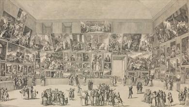 View of the Salon of 1785, 1785. [Coup d'oeil exact de l'arrangement des Peintures au Salon du Louvre, en 1785].