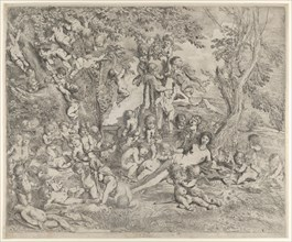 The Garden of Venus who reclines in the centre before a herm of Pan and surrounded by cupids, ca. 1631-37.