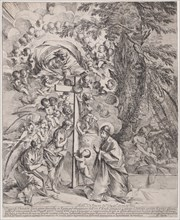 The dream of St Joseph, who is sleeping at the right, the Virgin and Child by a cross surrounded by angels and many putti and with God the Father above, ca. 1635-37.
