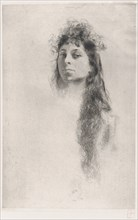 Head of a Girl with Long Hair,.n.d.