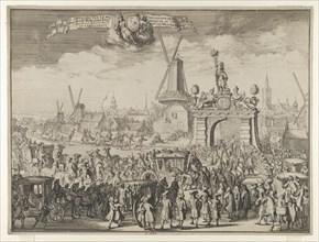 Entrance of William III into The Hague (Inhaling van S.K. Maj. aende Westeynder brug door de E.A. Magistraet van s'Gravenhage / Reception de sa Majesté au pont du Westende) from Bidloo, Inkomste van K...