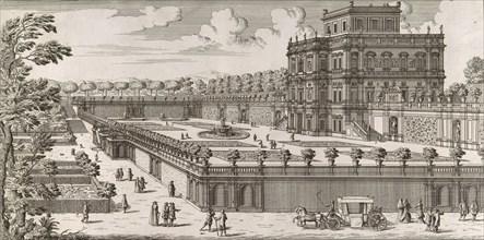 View of the side facade of the Palazzo Pamphili and its garden (Secondo prospetto per fianco del palazzo con diversa veduta del giardino del Bel respiro...Pamphilio), after 1677.