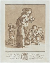 A young girl walks towards the left with one infant on her shoulder and holding another small child's hand, while two children walk at right with a torch and a basket, ca. 1780.