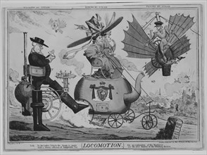 Locomotion: Walking by Steam, Riding by Steam, Flying by Steam, ca. 1830.