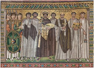 Emperor Justinian and Members of His Court, Byzantine, early 20th century (original dated 6th century).