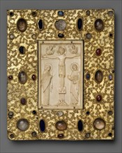 Book Cover (?) with Byzantine Icon of the Crucifixion, Byzantine (ivory); Spanish (setting), 1000 (ivory); late 11th century (setting).