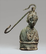 Steelyard Weight with a Bust of a Byzantine Empress and a Hook, Byzantine, 400-450. Empress of the Theodosian dynasty, which ruled from 379 to 450.