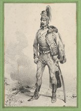 Standing soldier with his jacket on one shoulder, mid-19th century.