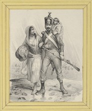Soldier with a woman on his arm and a child on his back, mid-19th century.