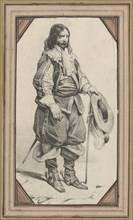 Man holding a cane and a hat, mid-19th century.