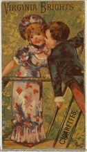 From the Girls and Children series (N64) promoting Virginia Brights Cigarettes for Allen & Ginter brand tobacco products, 1886.