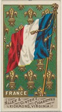 France, from Flags of All Nations, Series 1 (N9) for Allen & Ginter Cigarettes Brands, 1887.
