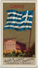 Greece, from Flags of All Nations, Series 1 (N9) for Allen & Ginter Cigarettes Brands, 1887.