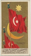 Turkey, from Flags of All Nations, Series 1 (N9) for Allen & Ginter Cigarettes Brands, 1887.