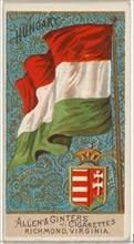 Hungary, from Flags of All Nations, Series 2 (N10) for Allen & Ginter Cigarettes Brands, 1890.