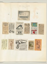 Album page with twelve tobacco coupons and labels, ca. 1888.  Toledo Tobacco Works Co., P. Lorillard Co., S. Jacoby & Co., H. Ellis & Co., and The Pinkerton Tobacco Co