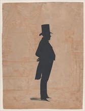 Silhouette of an unknown man in a top hat and tails, 1828-83.