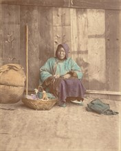 [Chinese Woman Sitting with Basket], 1870s.