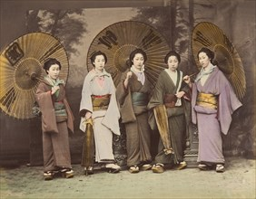[Five Japanese Women in Traditional Dress with Parasols], 1870s.