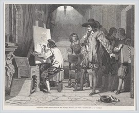 """Sebastian Gomez Discovered by His Master, Murillo, At Work, from """"Illustrated London News"""", April 29, 1848."""