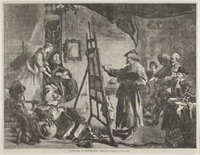 """L'Atelier de Rembrandt, tableau de J. Gilbert (Rembrandt's Studio, a painting by J. Gilbert), from """"L'Univers Illustré,"""" p. 395, November 14, 1861."""
