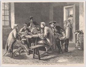 """Soldiers Playing at Cards, from """"Illustrated London News"""", May 4, 1861."""
