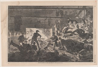 Winter Quarters in Camp - The Inside of a Hut (Harper's Weekly, Vol. VII), January 24, 1863.