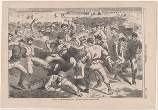"Holiday in Camp - Soldiers Playing ""Foot-Ball"" - Sketched by Winslow Homer (Harper's Weekly, Vol. IX), July 1865."