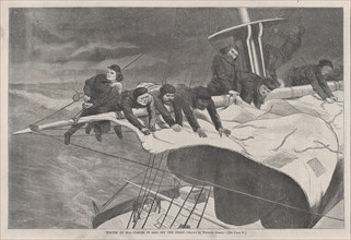 Winter at Sea - Taking in Sail off the Coast (Harper's Weekly, Vol. VIII), January 16, 1869.