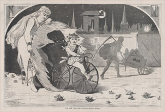 The New Year - 1869 - Drawn by Winslow Homer (Harper's Weekly, Vol. VIII), January 9, 1869.
