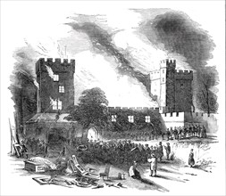Burning of Naworth Castle - from a drawing made on the spot