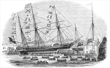 """Launch of """"The Braganza"""" steamer at Cowes"""